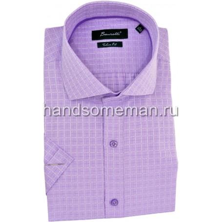 рубашка мужская с коротким рукавом, сиреневая в мелкую клетку.1249