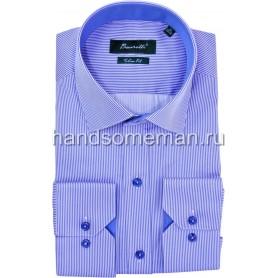 рубашка голубая в белую полоску. 1258