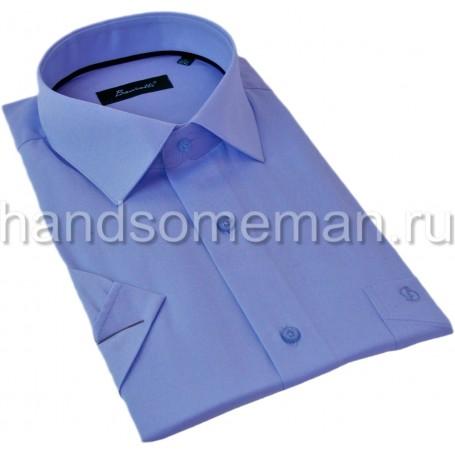 рубашка мужская с коротким рукавом, синяя меланж. 1297