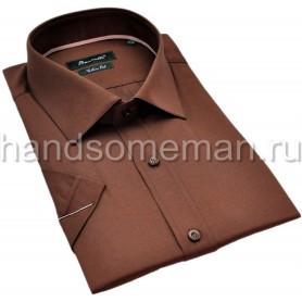 рубашка мужская с коротким рукавом, коричневая. 1298