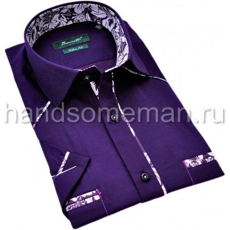 рубашка мужская с коротким рукавом, с красивой отделкой. 1311