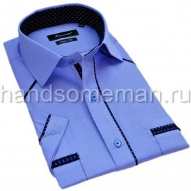 рубашка мужская с коротким рукавом, голубая с планкой. 1312