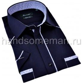 рубашка мужская с коротким рукавом, с комбинированной отделкой. 1313