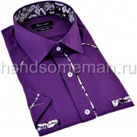 рубашка мужская с коротким рукавом, с комбинированной отделкой по воротнику. 1314
