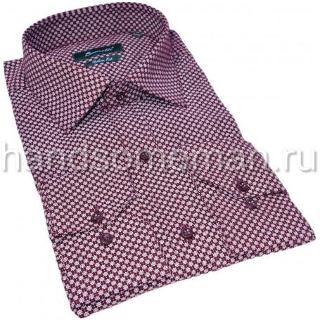 Бордовая рубашка в мелкий, белый ромбик. 1341