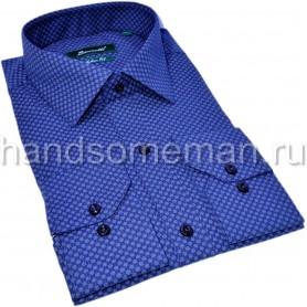 рубашка синяя с белым ромбиком. 1342