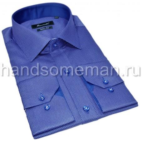 Синяя рубашка в белую крапинку. 1343