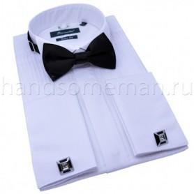 рубашка мужская белая под бабочку под запонки Арт.№1446